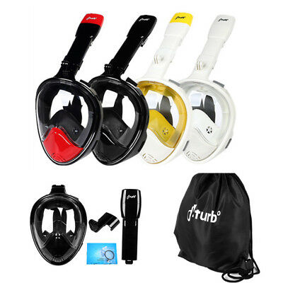 Fiturbo S3 Full Face Snorkel Mask Diving Goggles w/ Breath Pipe Removable Mount