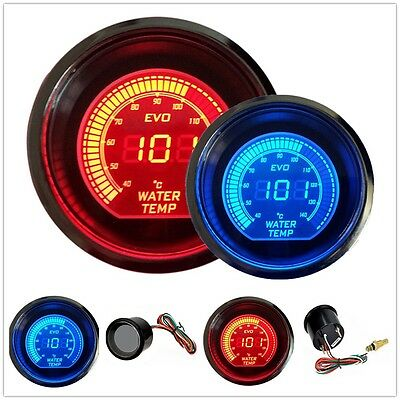 """HS Red & Blue 2"""" 52MM Digital LED EVO Water Temperature Gauge Meter US Shipping"""