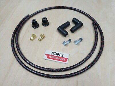 Custom 8mm Suppression Core Cloth Spark Plug Wire Sets - Black with Red
