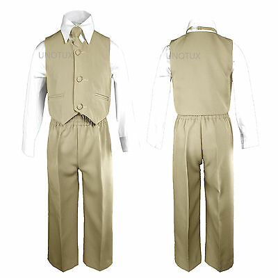 Khaki Baby Boys Toddler Wedding Formal Party Vest Necktie Sets Suits Outfits