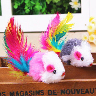5pcs cute cat pet toy feather plush mouse play cat scratching catch fun toys new