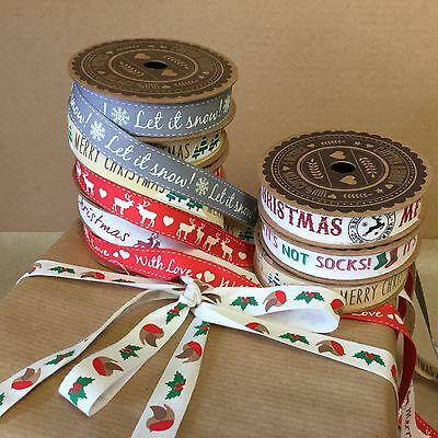 5m Rolls Vintage Christmas Ribbon Do not open until 25th December Reindeer Snow