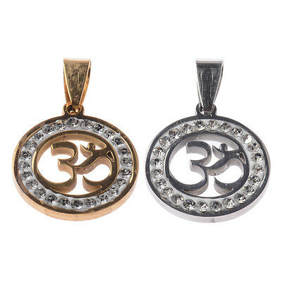 "Fashion New Stainless Steel Gold/Silver Yoga ""OM"" Crystals Necklace Pendant Gift"