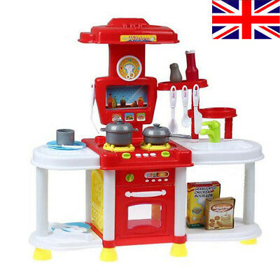 Portable Red Electronic Lights Kids Kitchen Cooking Girl Toy Cooker Play Set