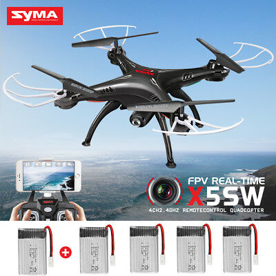 SYMA X5SW 6-Axis Quadcopter Drone Real Time Camera View RC Helicopter +2 Battery