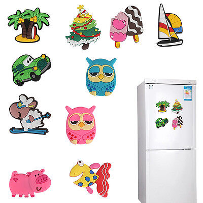 10pcs Fridge Magnet Cartoon Animals Novelty Magnets Colorful Kids Xmas Gift Fun