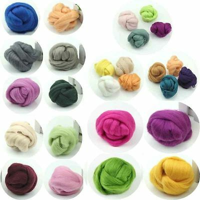 HOT 5-100g Wool Corriedale Needlefelting Top Roving Dyed Felting Fiber