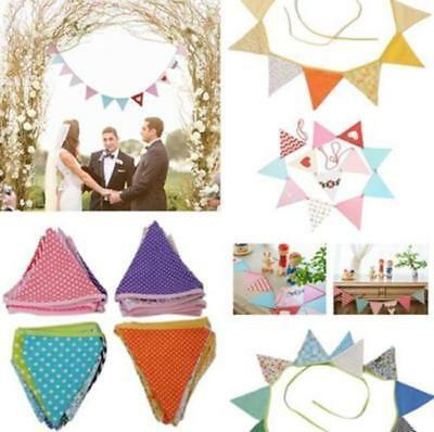 Vintage Wedding Garden Party Floral Fabric Bunting Flag Banner Garland T