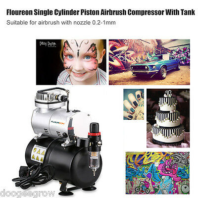 NEW 1/6HP Single Cylinder Piston Auto Airbrush Compressor AS186 W/1.5m Air Hose