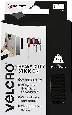 VELCRO® Brand Heavy Duty Stick On Strips - Black - 50mm x 100mm