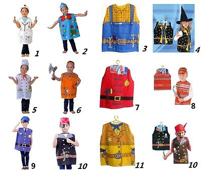 New Kids Occupation Uniform Costume Set Top+Hat for Dress Up 3-10yrs