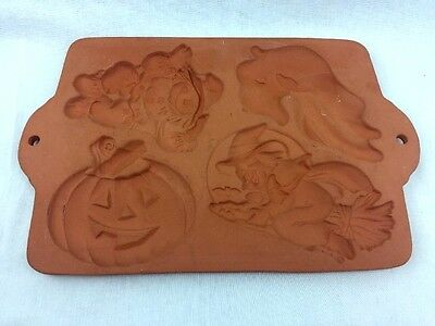 Terra-Cotta Cookie Press Scarecrow Pumpkin Witch Ghost Halloween Thanksgiving