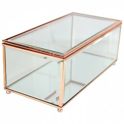 Copper & Glass Transparent Jewellery Box with Mirrored Base. Free Shipping