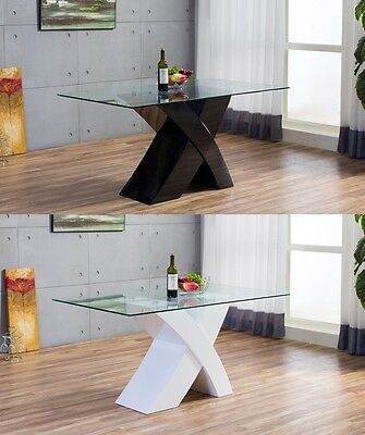 MILANO X High Gloss WHITE/BLACK Glass Wood Dining Table 6 Chairs Seater