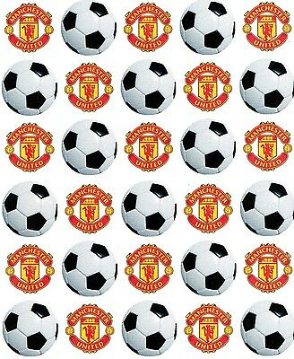 """30 X 1.5"""" Manchester United/ Football Edible Icing,Fairy Cup Cake Toppers"""