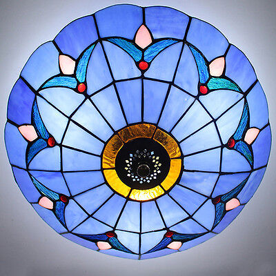 Tiffany Style Stained Glass Ceiling Lights Fixture Flush Mount Vintage Light 12""