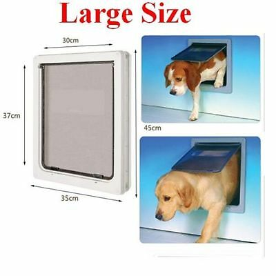 Pet Dog Door Cat Dual Entry Magnetic Lockable Telescoping Frame M/L for Big Dog