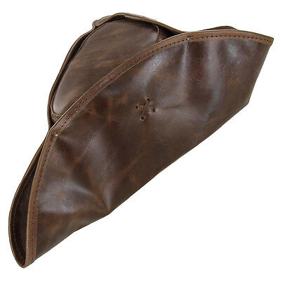 Colonial Genuine Leather Pirate Tricorn Costume Theatre Stage Hat - Brown
