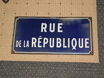 Old French vitreous enamel steel street sign road plaque RUE DE LA REPUBLIQUE