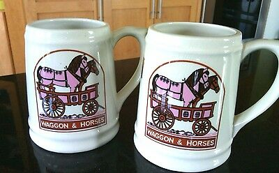 A Pair of Collectible Tracadie Ceramic Beer Tankards Mugs Stein Waggon & Horses