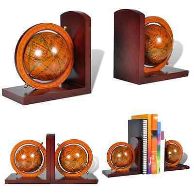 Bookstand World Map Globe Bookend Classic A Pair Home Study Office Wood Base