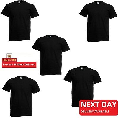 Black 1 2 3 5 10 Pack Men's Fruit of the Loom Plain Cotton Blank Tee T-Shirt LOT