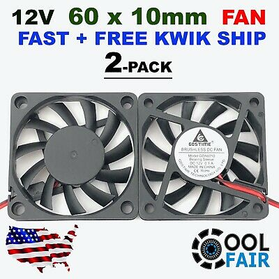 2 Pcs 60mm 10mm 12V Cooling Case Fan 6010 PC Computer CPU 6cm 60x60x10mm 2-Pin