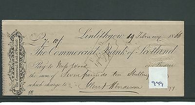wbc. - CHEQUE - CH999 - USED -1866- COMMERCIAL BANK of SCOTLAND, LINLITHGOW