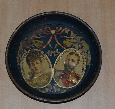 Antique Tin Sign  H. Major Queen Victoria And King George V In 1911