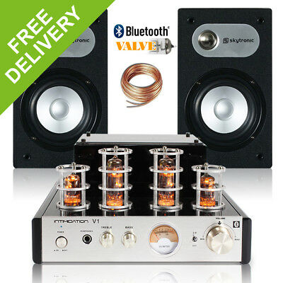 Home HiFi Stereo Speakers and Amplifier System Retro Valve Tube Amp Bluetooth