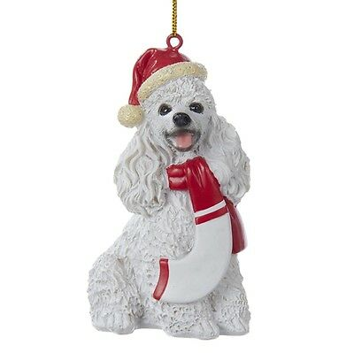 Poodle Resin Santa Ornament 3.9 Inches