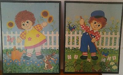 Vintage Wood Wall Raggedy Ann and Andy Pictures by Lyn