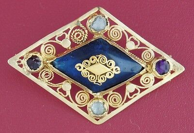 Antique COLORED GLASS YELLOW GOLD PIN PENDANT 15th-16th Century