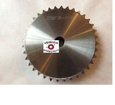 """25B36 1/4"""" Pitch, Chain Size 25, Finished Bore Sprocket, 3/8"""" Bore 2 Set Screw"""