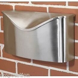Umbra POSTINO Brushed Stainless Steel Wall Mount Modern Mailbox w Lid Brand New