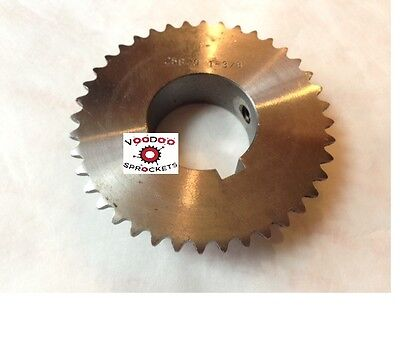 """25B40 1/4"""" Pitch, Chain Size 25, Finished Bore Sprocket, 1 3/8"""" Bore 2 Set Screw"""