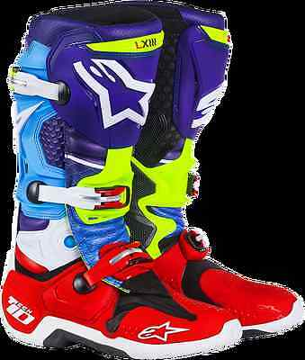 Alpinestars Womens MX/ATV Tech 10 Boots Venom Graphics Red/Blue/Cyan/Yellow 12