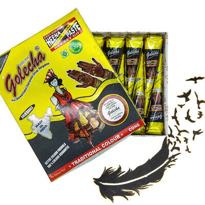 12 BLACK Color Herbal Henna Cones Temporary Tattoo Body Art Ink Mehandi 25 grams