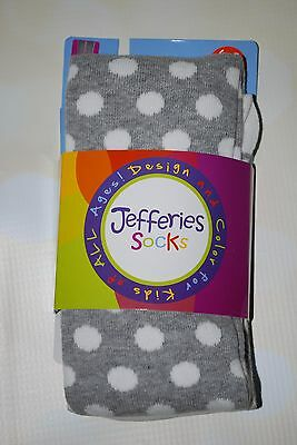 JefferiesGray and White Dots & Stripes Tights in size 6-8 Years