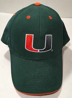 sports shoes 35544 623a7 Canes Univ of MIAMI Hurricanes BASEBALL Cap HAT Adjustable NCAA Embroidered  EUC