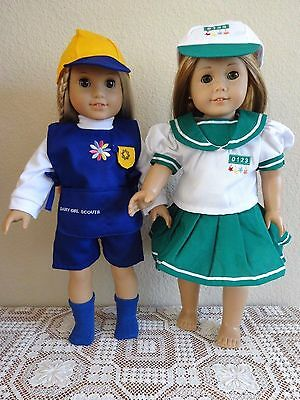 """NEW-DOLL CLOTHES: SCOUT UNIFORMS [2] fit 18"""" Doll such as AG Dolls - Lot #268"""