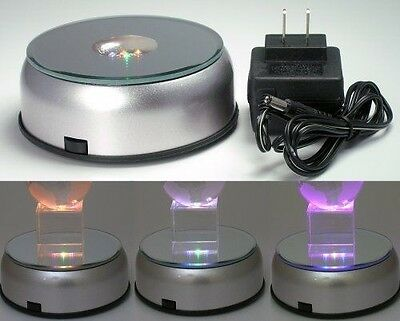 Display Base LED Lighted Silver Mirrored Top 7 Rotating Colored Lights