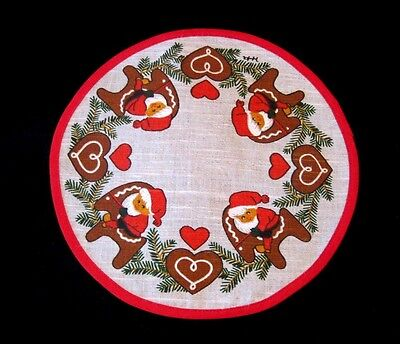 Swedish Christmas Doilie Doily W/Santa Riding Reindeer /Tomte On Julbook Hearts