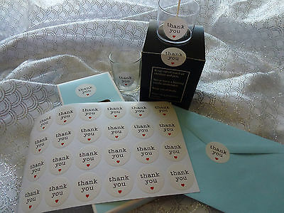 48 Stickers 'Thank you' for any handmade project christening wedding events etc
