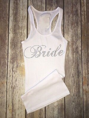 "Rhinestone ""bridesmaid Or Bride"" Tank Top Shirt Perfect Gift Silver Rhinestones"