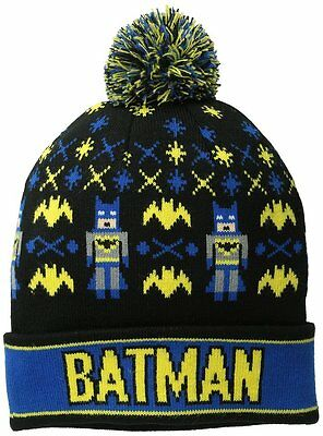 e6cc711fc1d DC Comics Batman Beanie Intarsia Comic Book Pom Beanie Winter Knit Hat New