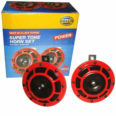 Hella Supertone Red Grill Horn 12V 300/500Hz Pair Car Bike Scooter Universal New