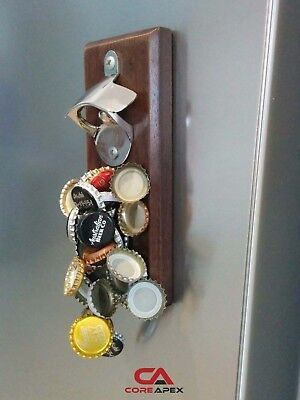 Beer Bottle Opener, Fathers Day gift, Sticks to Fridge, Timber, Holds 30 caps