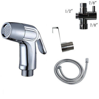 "Toilet Shattaf 7/8"" Adapter Sprayer Handheld Bidet Shower Head Wall Bracket Set"