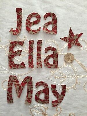 Any 7 Die Cut Iron On Sew On ,Glue On Fabric Letters Christmas RED/ Green- Names